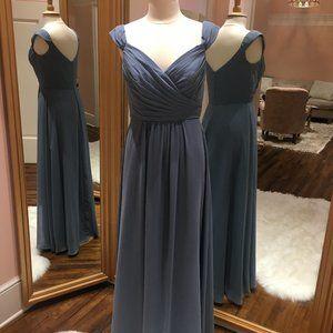 Slate blue, chiffon bridesmaid dress--Bari Jay